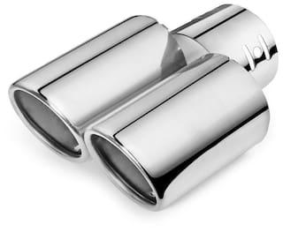 AutoSun A95 Round Twin Pipe Car Exhaust Silencer Tip Chrome For Mahindra Bolero