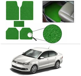 AutoSun Anti Slip Noodle Car Floor Mats Set Of 5 Green Volkswagen Vento Konekt 2015