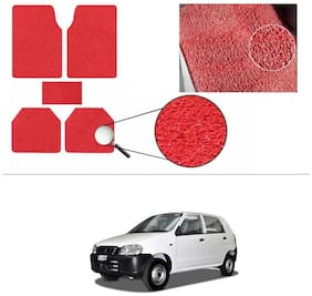AutoSun Anti Slip Noodle Car Floor Mats Set Of 5 Red Maruti Suzuki - Alto (Old)