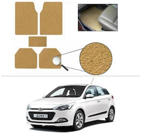 AutoSun Anti Slip Noodle Car Floor Mats Set Of 5 Beige Hyundai I-20 Elite