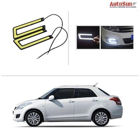 AutoSun AutoSun Waterproof U Shape COB LED DRL Car Parking Daytime Running Light White For Maruti Suzuki Swift Dzire (Old)