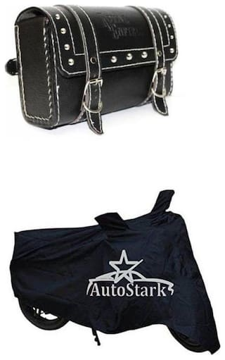 AutoSun Bike Body Cover With Square Saddle Bag Black For For Royal Enfield Twin spark