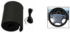 AutoSun Car Steering Wheel Cover with Needles and Thread Black PU Leather Black - Maruti Suzuki Ciaz
