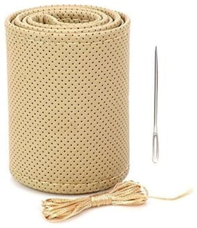 AutoSun Car Steering Wheel Cover with Needles and Thread Beige PU Leather Beige - Datsun Go+