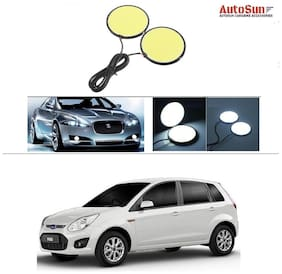AutoSun Car DRL LED COB Daytime Running Light Fog Lamp 70mm 2.75 Round White For Ford Figo