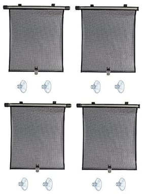 Autosun Delux Car Window Roller Curtain Black (Set of 4) - Mahindra Bolero
