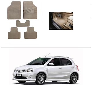 AutoSun Heavy Quality Set of 5 Carpet Beige Car Foot Mat / Car Floor Mat Toyota Etios Liva