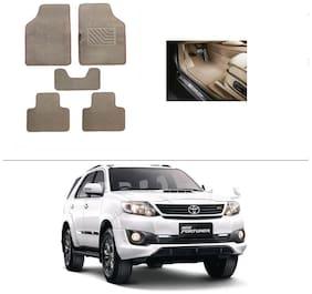 AutoSun Heavy Quality Set of 5 Carpet Beige Car Foot Mat / Car Floor Mat Toyota Fortuner 2015