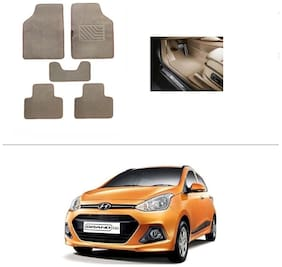AutoSun Heavy Quality Set of 5 Carpet Beige Car Foot Mat / Car Floor Mat Hyundai Grand I10