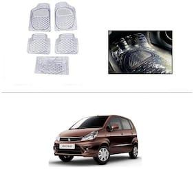 AutoSun Heavy Quality Transparent White Car Floor Mats Set Of 5 For tata tiago