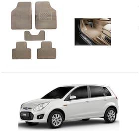 AutoSun Heavy Quality Set of 5 Carpet Beige Car Foot Mat / Car Floor Mat Ford Figo