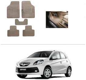 AutoSun Heavy Quality Set of 5 Carpet Beige Car Foot Mat / Car Floor Mat Honda Brio