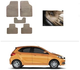 AutoSun Heavy Quality Set of 5 Carpet Beige Car Foot Mat / Car Floor Mat tata tiago