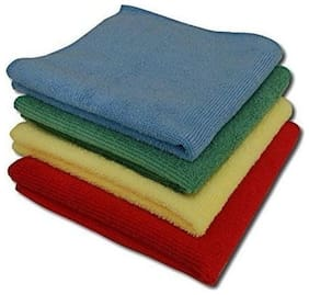 AutoSun Microfiber Extra Large Micro Fibre Cleaning Cloth (Set Of 4),Multicolor