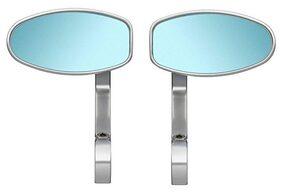 AutoSun Oval Rear View Mirror for Bikes (Chrome) For Suzuki Gixxer SF