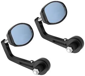 AutoSun Oval Rear View Mirror for Bikes (Black) For Suzuki Hayate