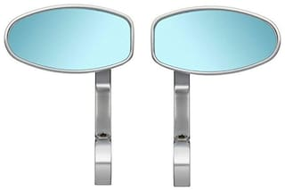 AutoSun Oval Rear View Mirror for Bikes (Chrome) For Hero Impulse