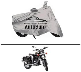AutoSun Premium Quality Bike Body Cover Silver for - Royal Enfield Classic Chrome