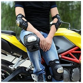 AutoSun Pro Stainless Steel Knee Elbow Guards Sport Motorcycle Racing Riding Gear Set Of 4 Pcs