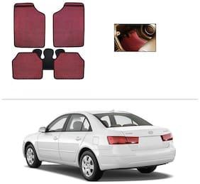 AutoSun Red Odourless Car Floor/Foot Mat Set Of 5 Hyundai Sonata Embera