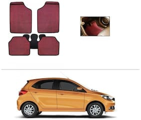 AutoSun Red Odourless Car Floor/Foot Mat Set Of 5 tata tiago