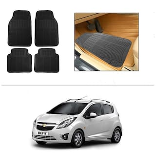 AutoSun Rubber Car Floor / Foot Mats Black For Chevrolet Beat