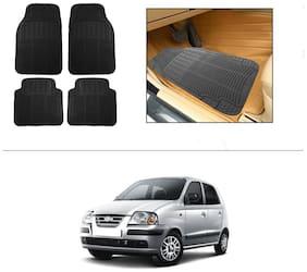 AutoSun Rubber Car Floor / Foot Mats Black For Hyundai Santro Xing