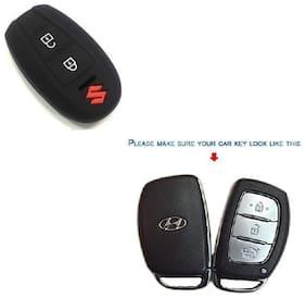 AutoSun silicone key cover fit for: Suzuki Vitara Brezza / Baleno / S Cross / Ciaz / Swift smart key (Black)
