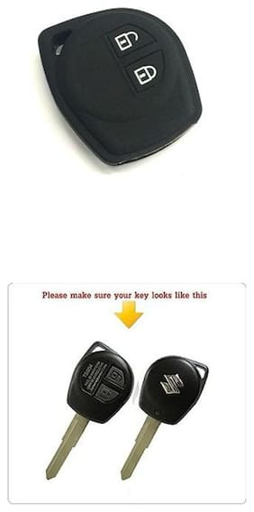 AutoSun Silicone Key Cover fit for Suzuki WagonR 2 Button Remote Key (Black)