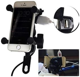 AutoSun Spider Bike MultiFunctional Mobile Holder with USB Charger Mototrcycle Mobile Holder Bracket  For Honda Dio