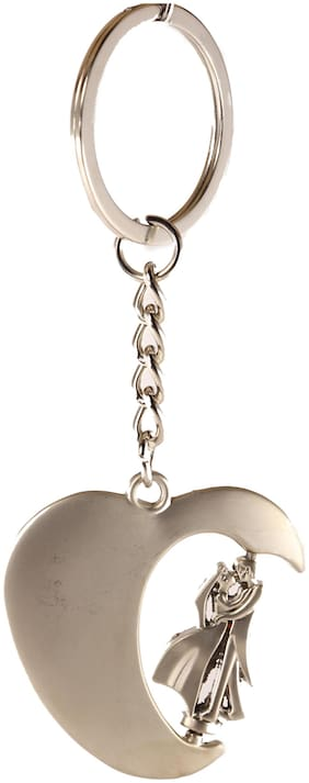 AVI Techpro Keychain With Silver Metal Heart with Rotating Couple Design ( Pack of 1)