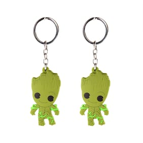 AVI Techpro Keychain With Multicolor Double Sided Groot Rubber Design( Pack of 2)