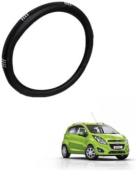 AYW Leather Steering Cover For Chevrolet Beat Chrome & Black Color