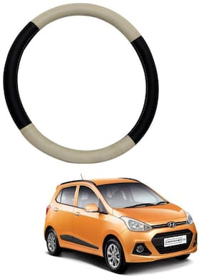 AYW Leather Steering Cover For Hyundai Grand i10 Beige & Brown Color