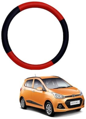 AYW Leather Steering Cover For Hyundai Grand i10 Red & Black Color