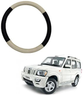 AYW Leather Steering Cover For Mahindra Scorpio Beige & Brown Color