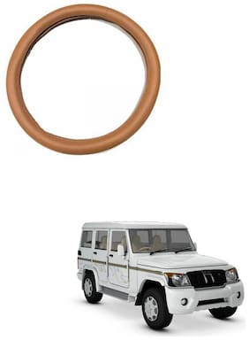 AYW Leather Steering Cover For Mahindra Bolero Tan Color