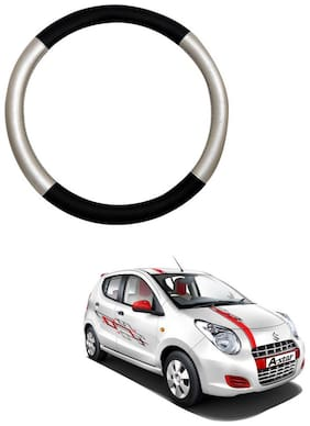 AYW Leather Steering Cover For Maruti Suzuki A-Star Silver & Black Color