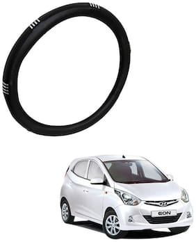 AYW Leather Steering Cover For Hyundai Eon Chrome & Black Color