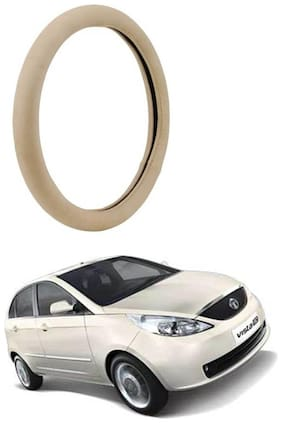 AYW Leather Steering Cover For Tata Indica Vista Beige Color