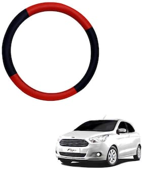 AYW Leather Steering Cover For Ford Figo Red & Black Color