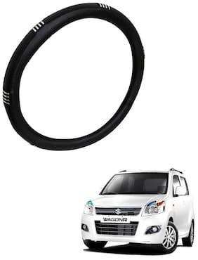 AYW Leather Steering Cover For Maruti Suzuki WagonR Chrome & Black Color