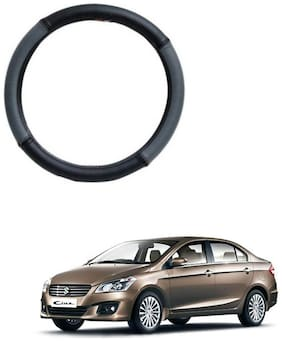 AYW Leather Steering Cover For Maruti Suzuki Ciaz Grey & Black Color