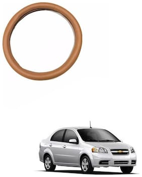 AYW Leather Steering Cover For Chevrolet Aveo Tan Color