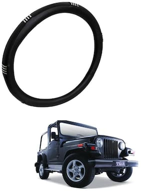 AYW Leather Steering Cover For Mahindra Thar Chrome & Black Color
