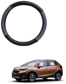 AYW Leather Steering Cover For Honda WRV Grey & Black Color