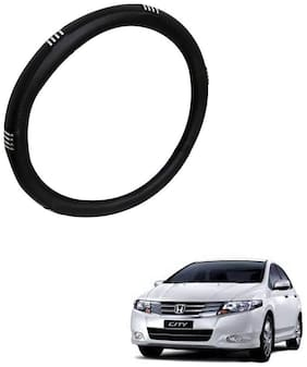 AYW Leather Steering Cover For Honda City Chrome & Black Color