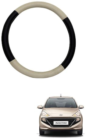 AYW Leather Steering Cover For Hyundai Santro Beige & Brown Color