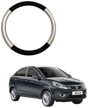 AYW Leather Steering Cover For Tata Zest Silver & Black Color