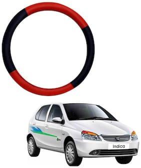 AYW Leather Steering Cover For Tata Indica Red & Black Color